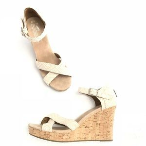 NEW Tom's Natural Sienna Woven Wedges Cork 301214